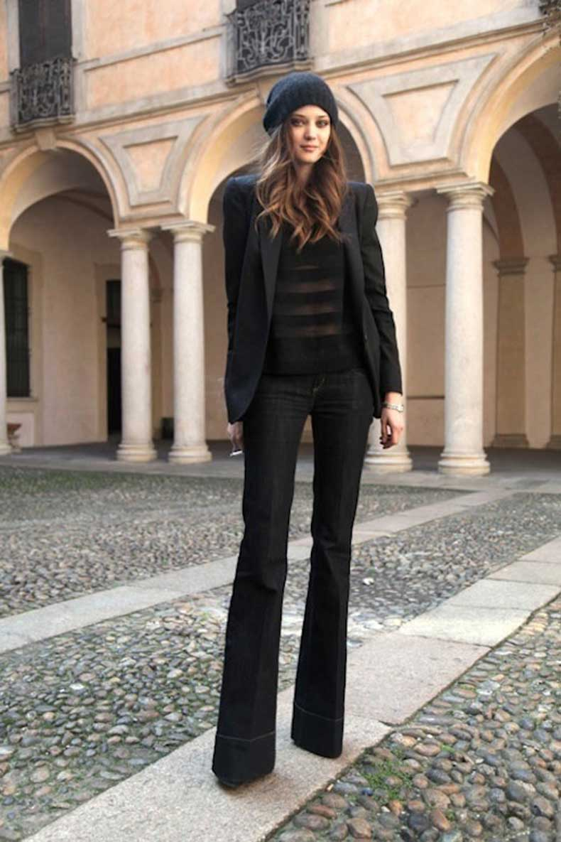 9 Ultra-Cool Ways to Wear Flared Jeans – Beanie, Blazer, Striped Blouse, Diana Moldovan
