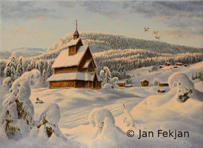 Bilde av digigrafiet 'Kjørkja på Landevarden'. Hovedmotivet er en stavkirke i et vinterlandskap med snø i lav ettermiddagssol. Rundt kirken er det to gårder, snøtunge trær, tre dompaper i flukt og en hare i hvit vinterpels. Stilen kan beskrives som figurativ, nasjonalromantisk og realistisk. Bildet er i breddeformat.
