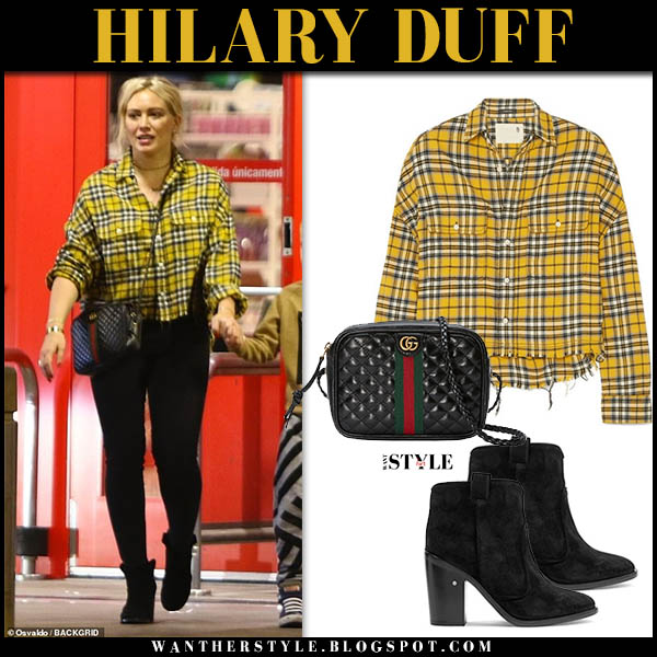 Hilary Duff in yellow checked r13 shirt, black jeans and black laurence dacade nico ankle boots celebrity street fashion december 1