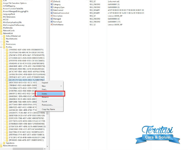 Cara Forget jaringan Wifi di Windows 10 melalui registry editor
