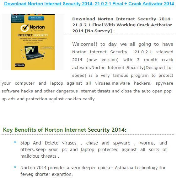 norton internet security key crack