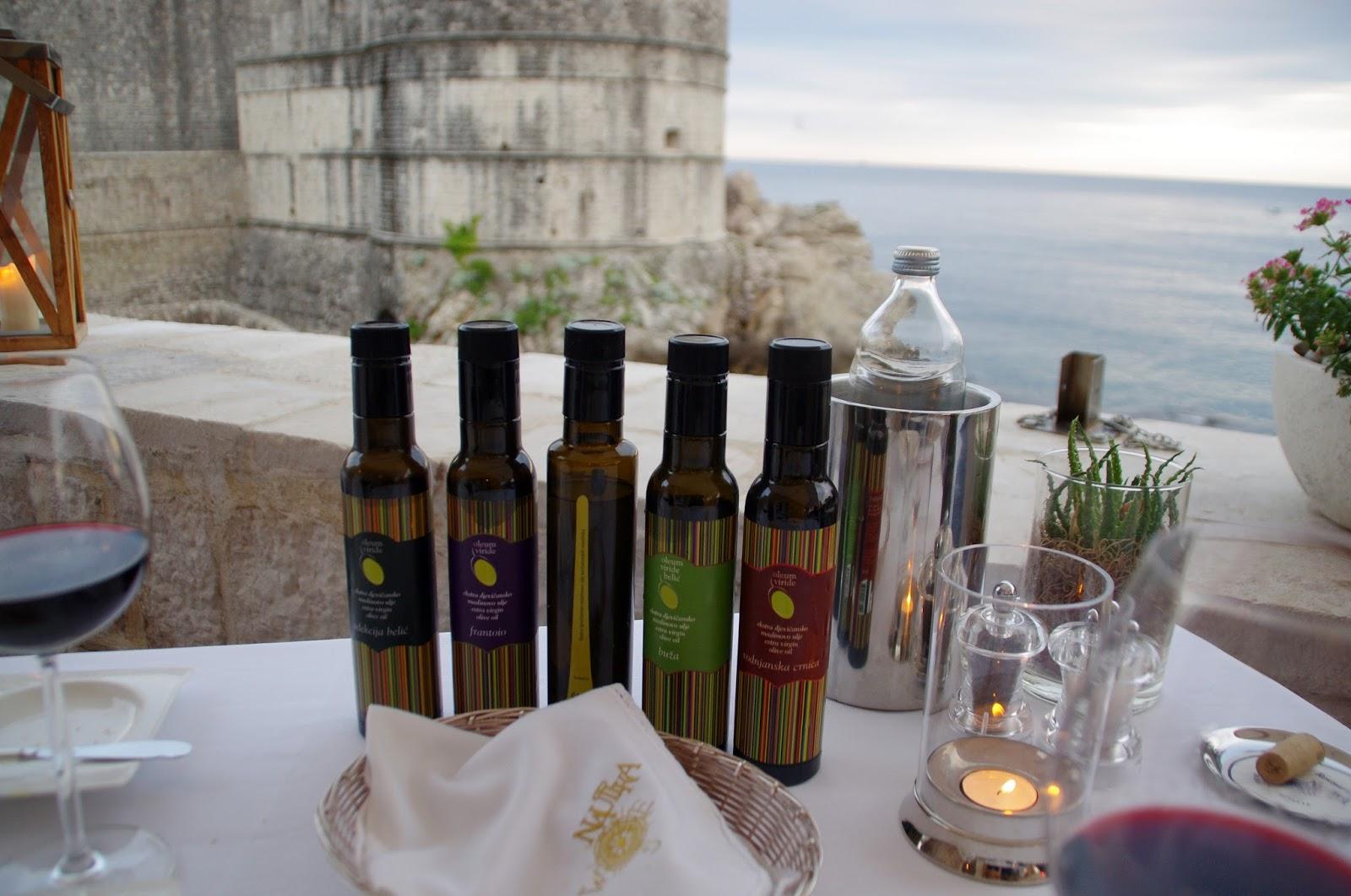Local olive oil's at Nautika Restaurant Dubrovnik