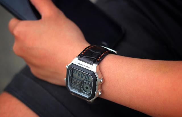 Dây da đồng hồ điện tử Handmade