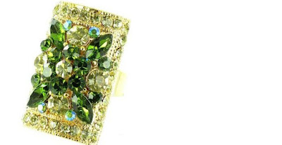 Green on Gold Plated Flower Ring