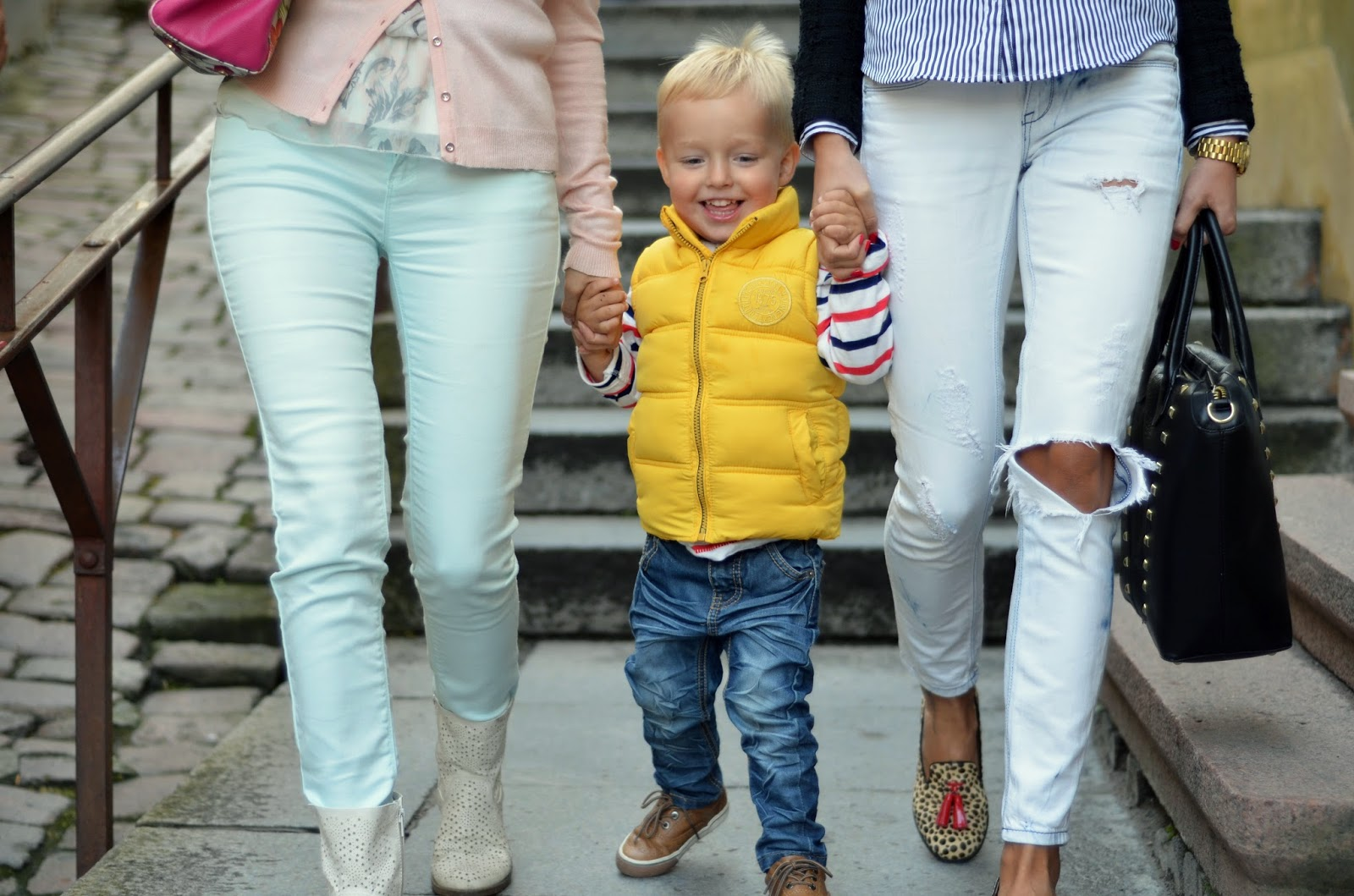 toddler outfit yellow vest blue jeans
