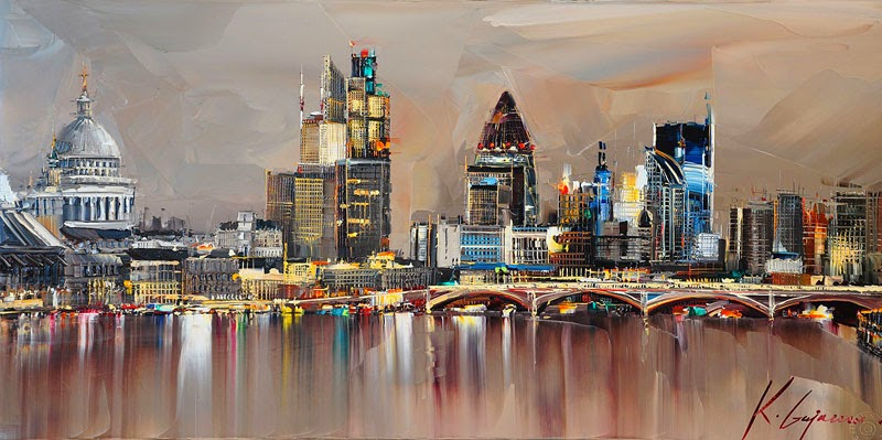 25-London-Skyline-Kal-Gajoum-Paintings-of-Dream-Like Cities-of-the-World-www-designstack-co