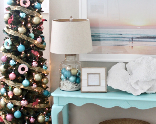 Coastal Christmas Lamp with Fillable Table Lamp