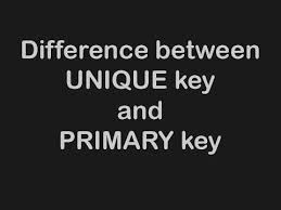 Difference Between Unique Key and Primary Key