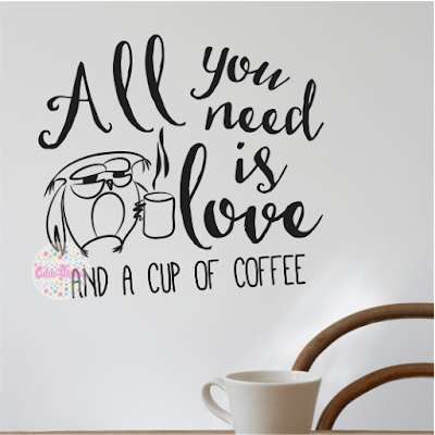 vinilo decorativo pared cocina cafe buho amor all you need love