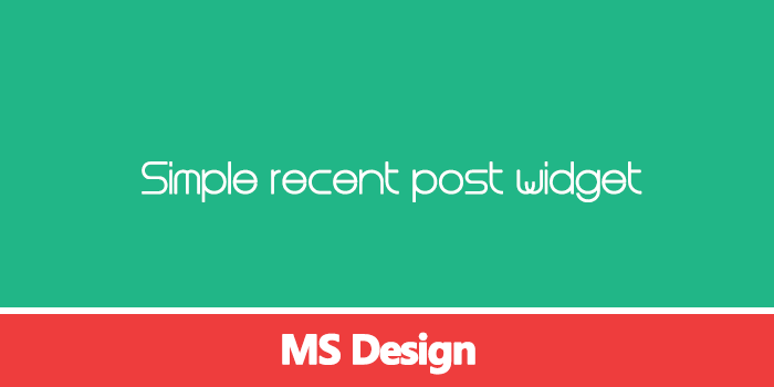 Blogger Simple Recent Post Widget