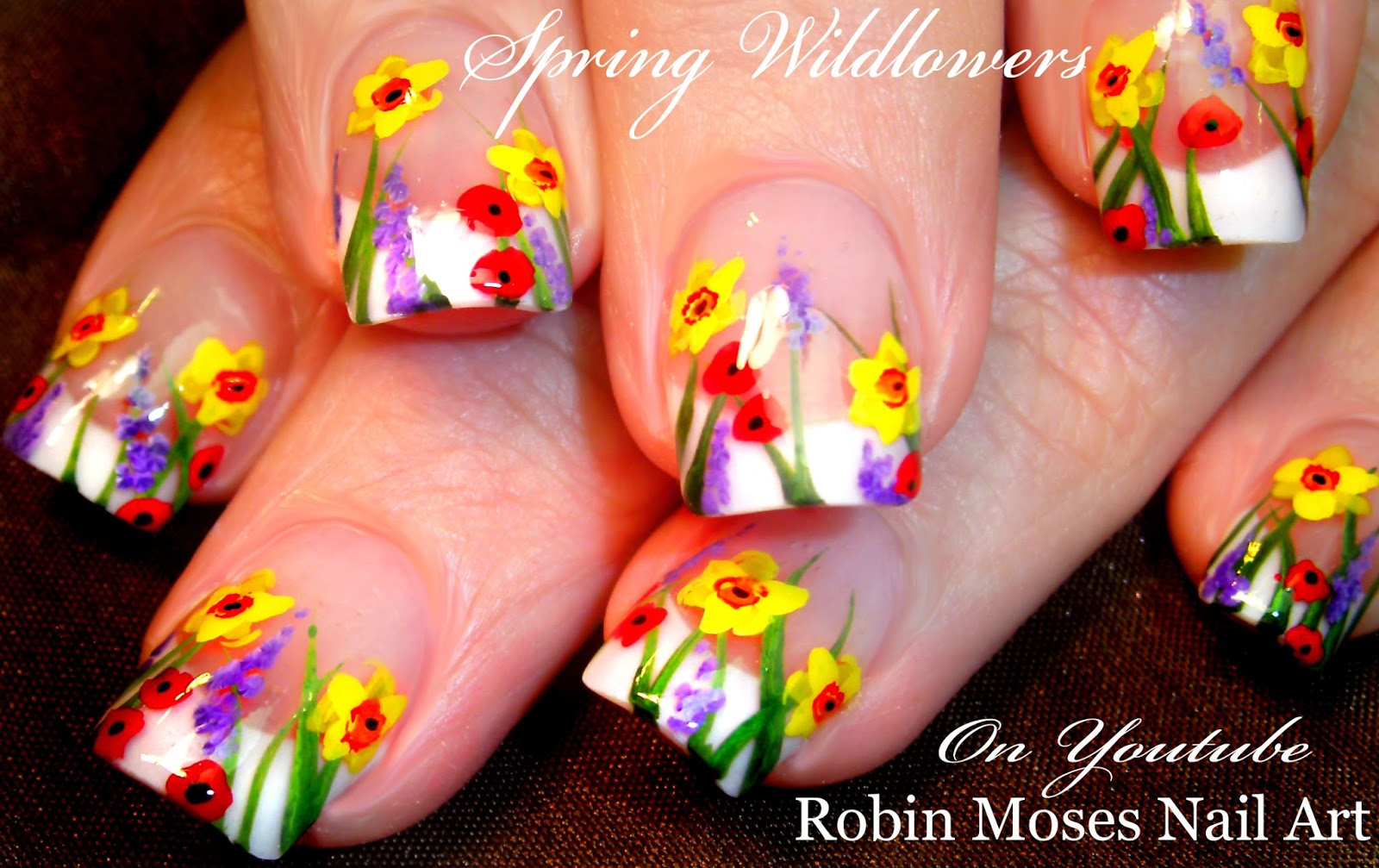 DIY Easy Spring 2016 Wild Flower Nail Art Design Full Tutorial