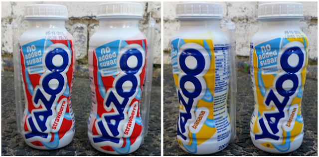 Bottles of YAZOO No Added Sugar milk drinks.
