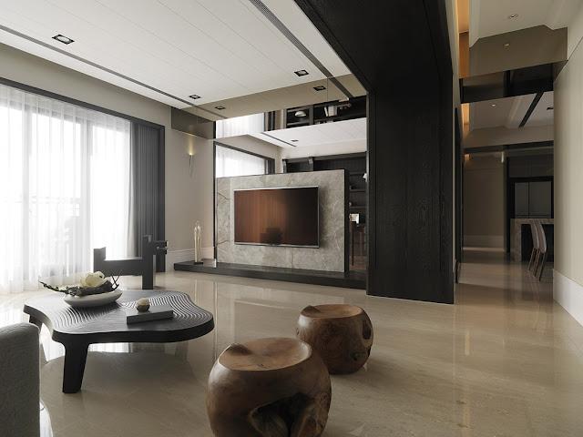 Роскошь темного дуба в современном интерьере квартиры в Тайване