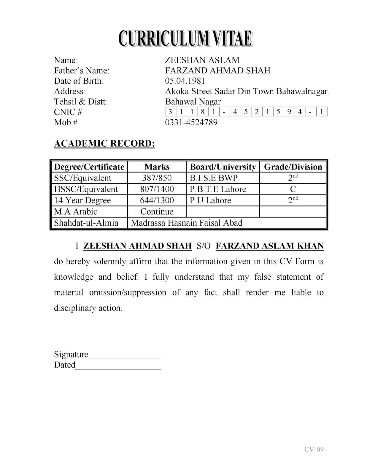 Curriculum Vitae Cv Sample 09 Zmcrc Zia Bwn