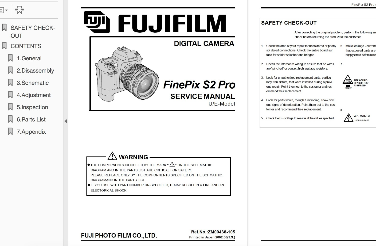 FUJIFILM FinePix S2 Pro Digital Camera Service Repair Manual