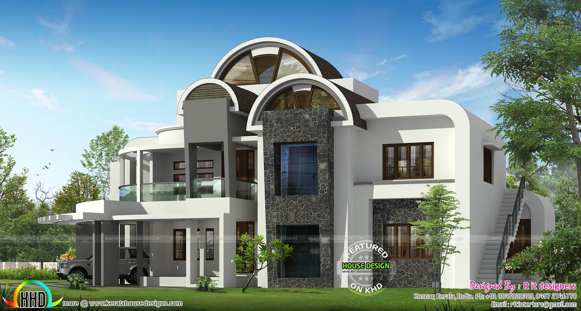 Round Homes Designs: Half Round Roof Unique House Design