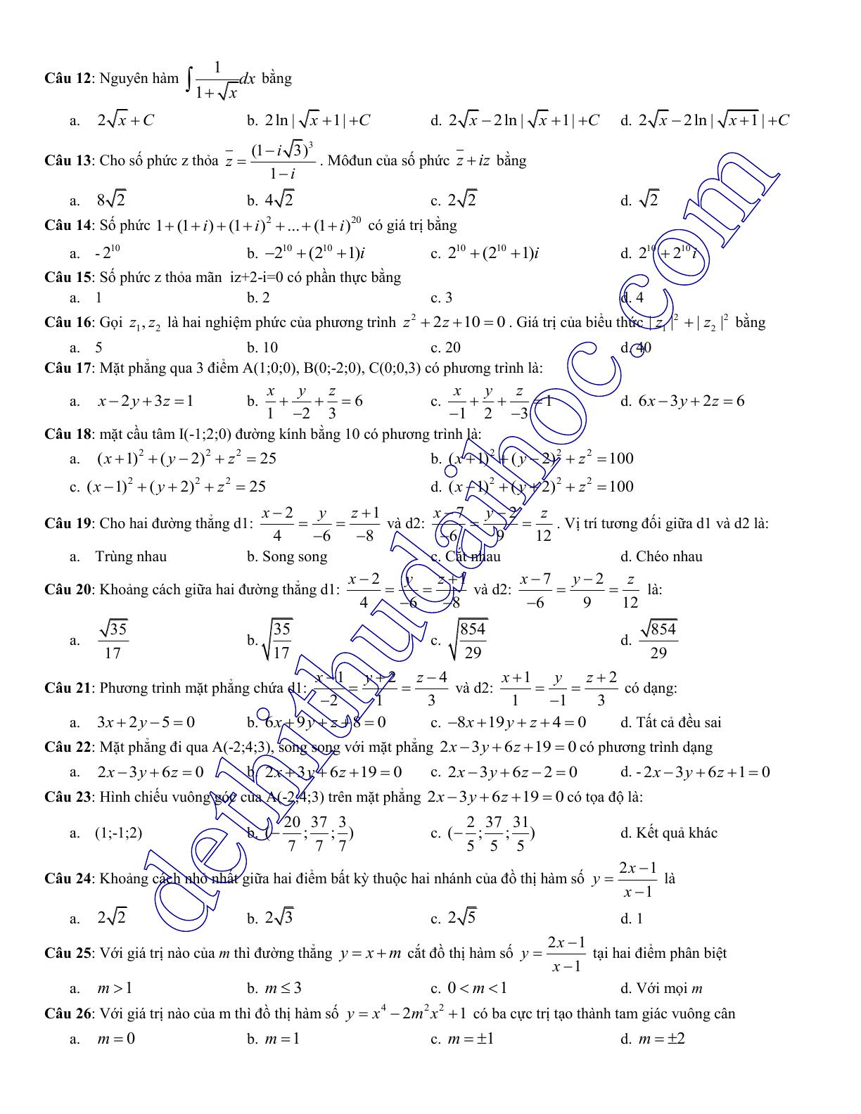 đề thi thử trắc nghiệm toán 2017
