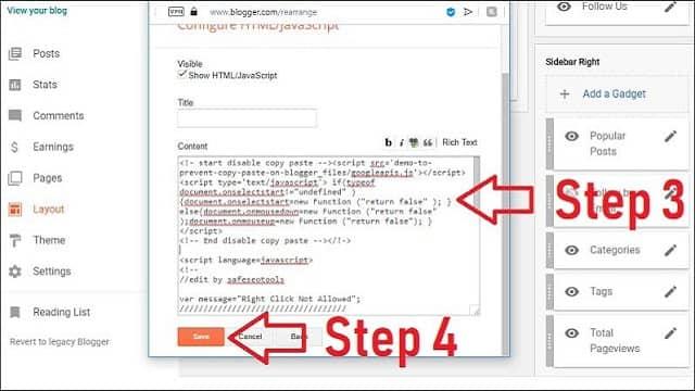स्टेप ३: ब्लॉगर ब्लॉग में कॉपी/पेस्ट और राइट क्लिक कैसे बंद करे