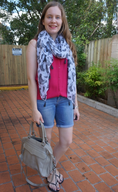 chook print bird and egg scarf pink button up tank bermuda denim shorts summer SHAM style | away from blue
