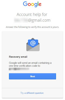Google will send an e-mail containing a one-time verification code