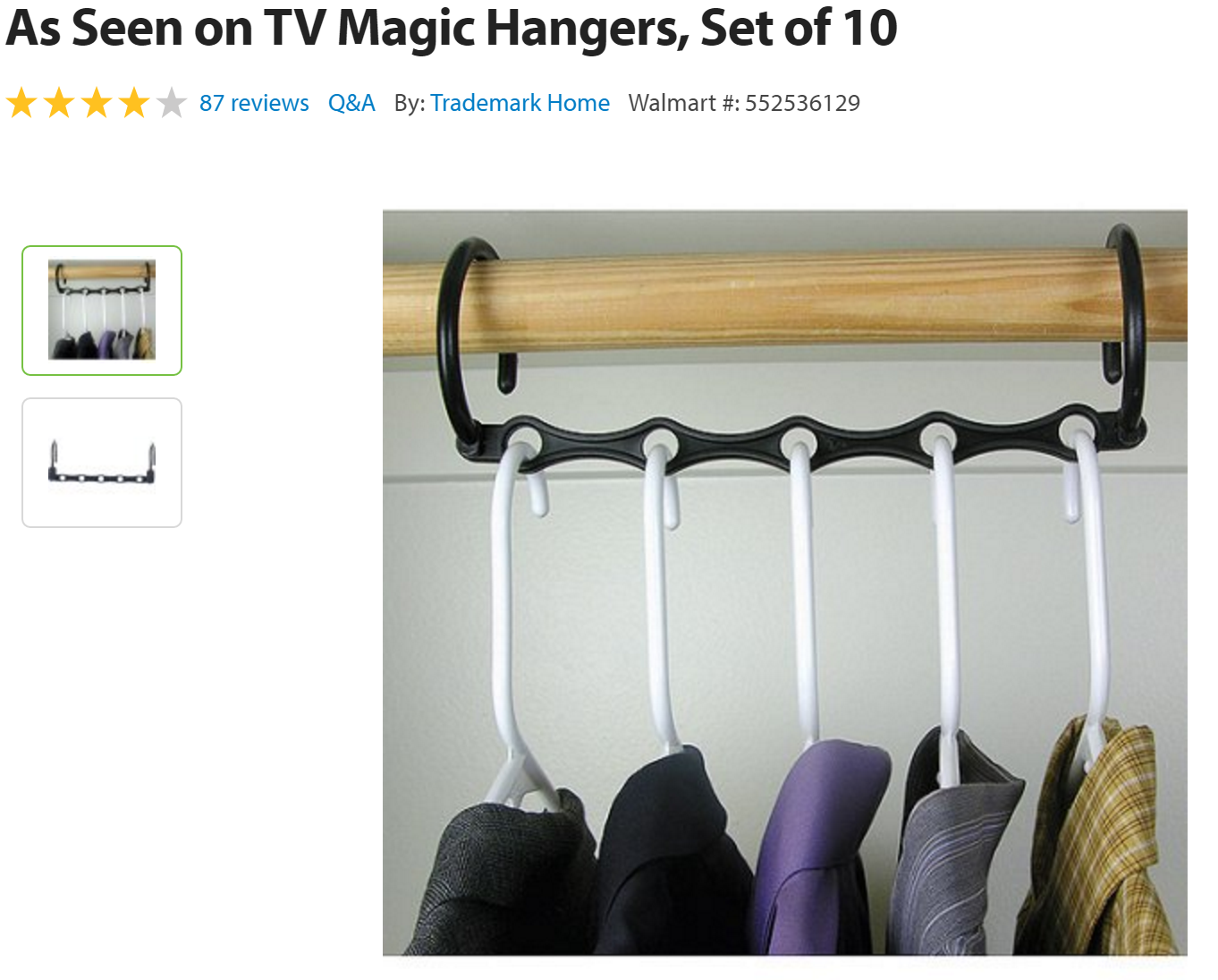 Walmart As Seen On Tv Magic Hangers Set Of 10 514 Qpanion