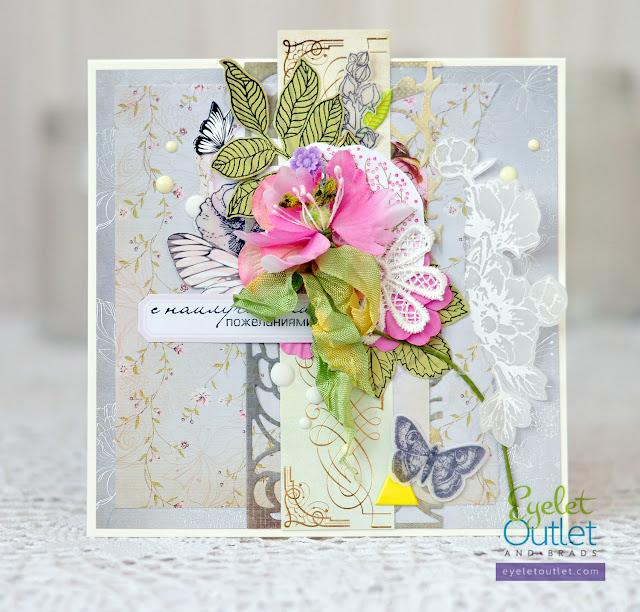 best wishes card | Eyelet Outlet @akonitt #card #cards #by_marina_gridasova #kaisercraft #papercraft #cardmaking #scrapbooking #handmadecard #lesiazgharda #eyeletoutlet #enameldots #prima #flower #flowers #flowercard