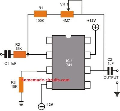 inverting AC amplifier design circuit