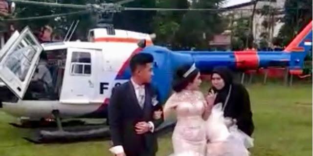 Heboh Resepsi Pengantin di Pematang Siantar Diduga Pakai Helikopter Polisi