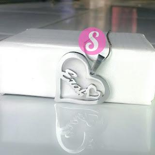 kalung nama moenl silver love polos - ezah