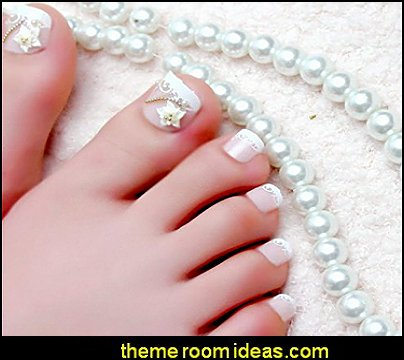 24pcs Nail Art Decoration Tips Fake False Toe Nails Art  Foot Jewelry