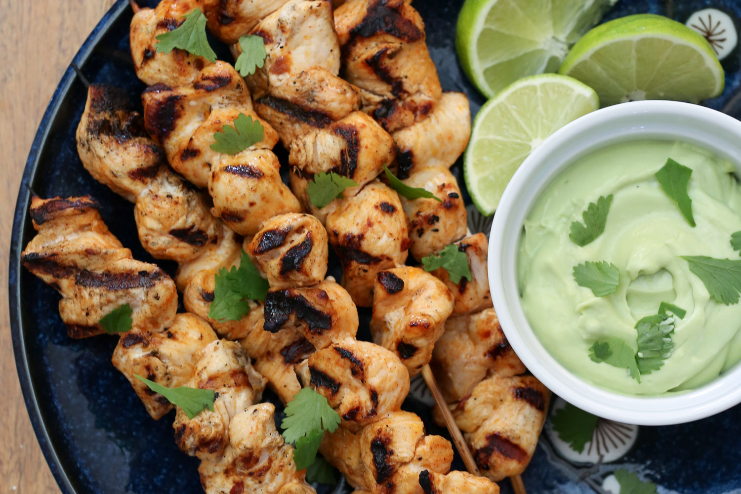 Chipotle Chicken Kabobs with Avocado Cream Sauce - recipe by Barefeet In The Kitchen
