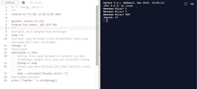 Program Looping While Penjumlahan Dari Banyaknya n Bilangan yang Diinputkan