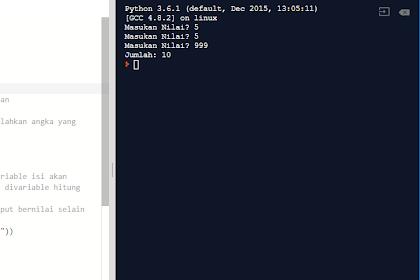 Belajar Python Pemula : Program Looping While Penjumlahan Dari Banyaknya n Bilangan yang Diinputkan