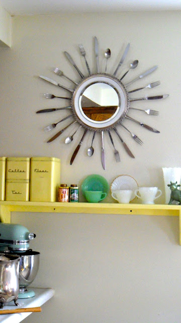Upcycling Ideas Upcycled Kitchenware Utensils Reduce Reuse Recycle Upcycle Kitchen Vintage Old DIY Silverware Mirror Plate Dinner Plate White Silver Tray