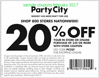 Party City coupons february 2017