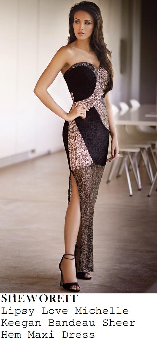 32fde9d05549 Michelle Keegan's Lipsy Love Michelle Keegan Black & Gold Strapless  Sweetheart Neckline Sheer Mesh Overlay Detail Maxi Dress