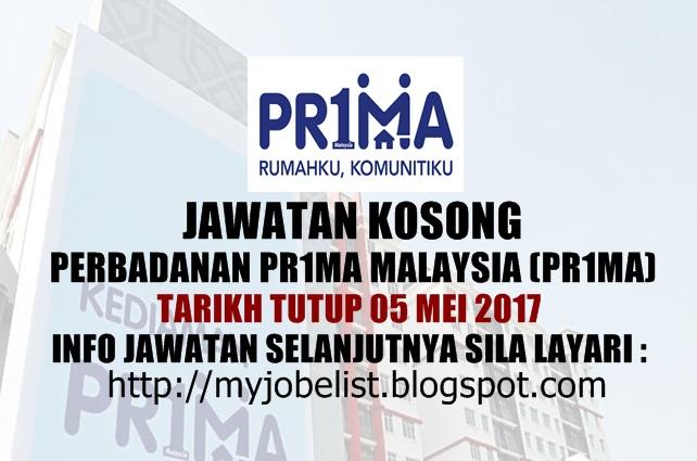 Jawatan Kosong di Perbadanan Pr1ma Malaysia Mei 2017