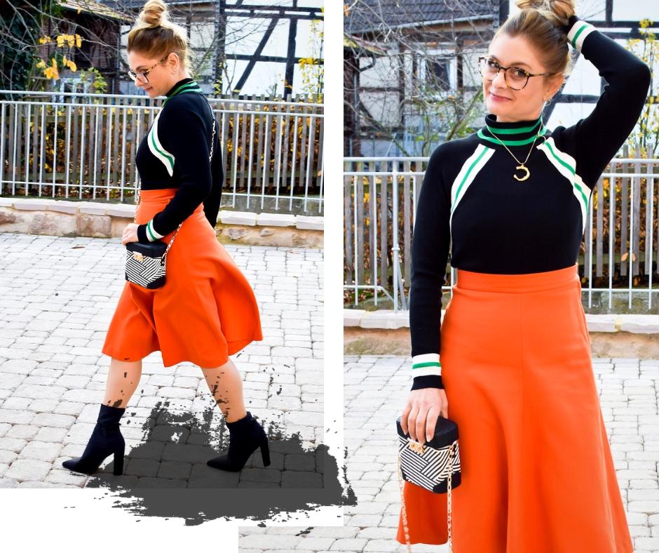 welche Farben passen am besten zu Orange? Rock in Orange, schwarze Sockboots
