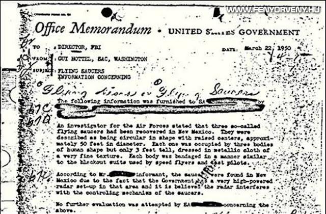 Egy UFO feljegyzés az FBI legnézettebb aktája