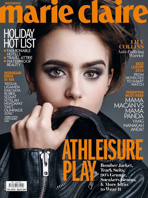 Actress, Model, @ Lily Collins - Marie Claire Indonesia, July 2016