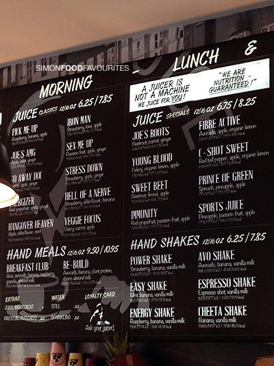 joe the juice menu