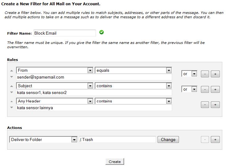 halaman konfigurasi account level filtering - faberhost.com