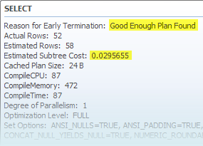Plan cost