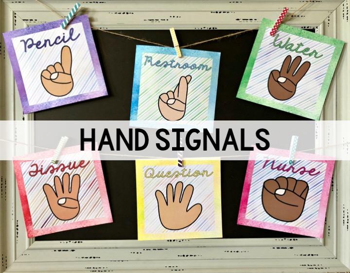 Cool Hand Signals Watercolor Classroom Decor Thehappyteacher Download Free Architecture Designs Scobabritishbridgeorg