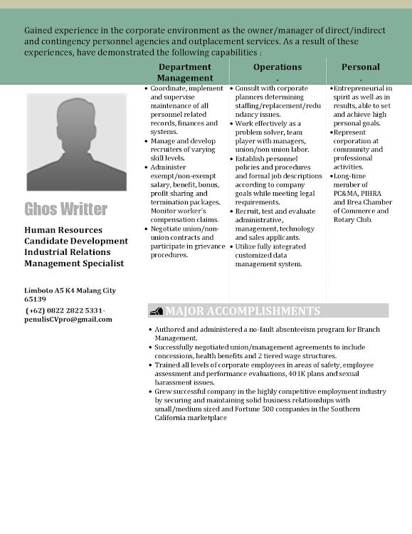 Contoh Curriculum Vitae Praktisi Human Resources