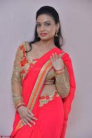 Bhimbika in Red Orange Saree at Sikhandi Movie Launch Spicy Pics 16.jpg