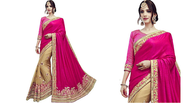 SareeShop Embroidered Bollywood Georgette, Net Saree  (Pink)