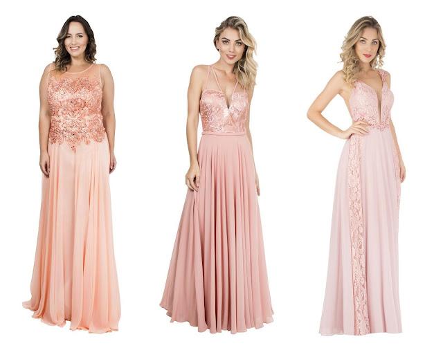 vestido de festa rosa claro e rose