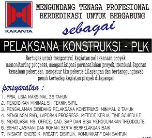 Lowongan Kerja Pelaksana Konstruksi di PT Kakanta Makassar