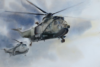 Seaking original watercolour Sea King helicopter commando